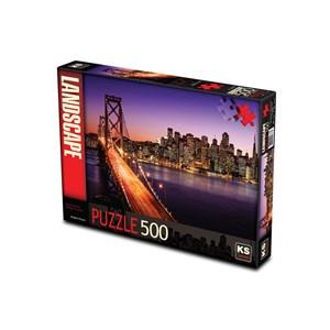 """KS Games (11376) - Brigitte Peyton: """"San Francisco Bridge at Sunset"""" - 500 pezzi"""