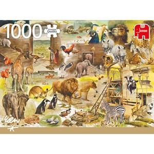 """Jumbo (18854) - Rien Poortvliet: """"Building Noah's Ark"""" - 1000 pezzi"""