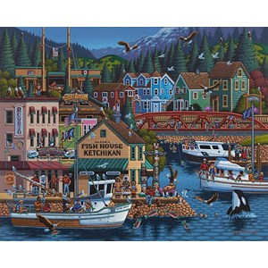 "Dowdle Folk Art (00245) - Eric Dowdle: ""Ketchikan, Alaska"" - 500 pezzi"
